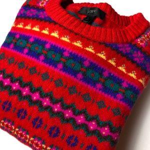 J.Crew Christmas Nordic Print Wool Sweater, Small
